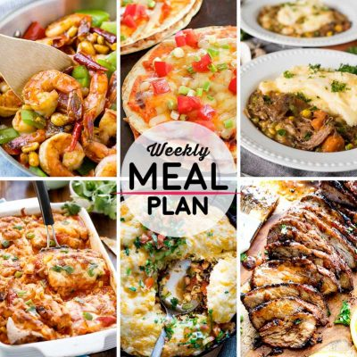 Weekly Meal Plan #35! A meal plan to help you keep things tasty each week, including kung pao shrimp, Mexican pizza, slow cooker shepherds pie, and more! | HomemadeHooplah.com