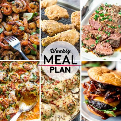 Weekly Meal Plan #36! A meal plan to help you keep things tasty each week, including cilantro lime honey garlic shrimp, southern fried chicken, smoky brisket and more! | HomemadeHooplah.com