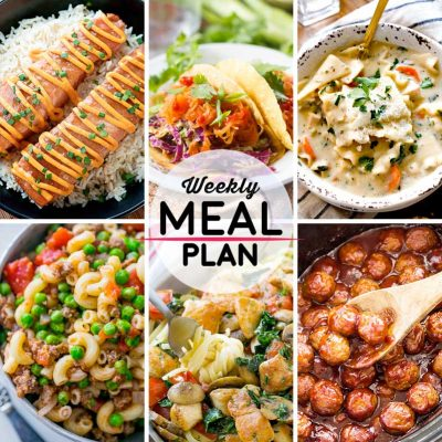 Weekly Meal Plan #37! A meal plan to help you keep things tasty each week, including teriyaki salmon, spaghetti squash tacos, white chicken lasagna soup, and more! | HomemadeHooplah.com