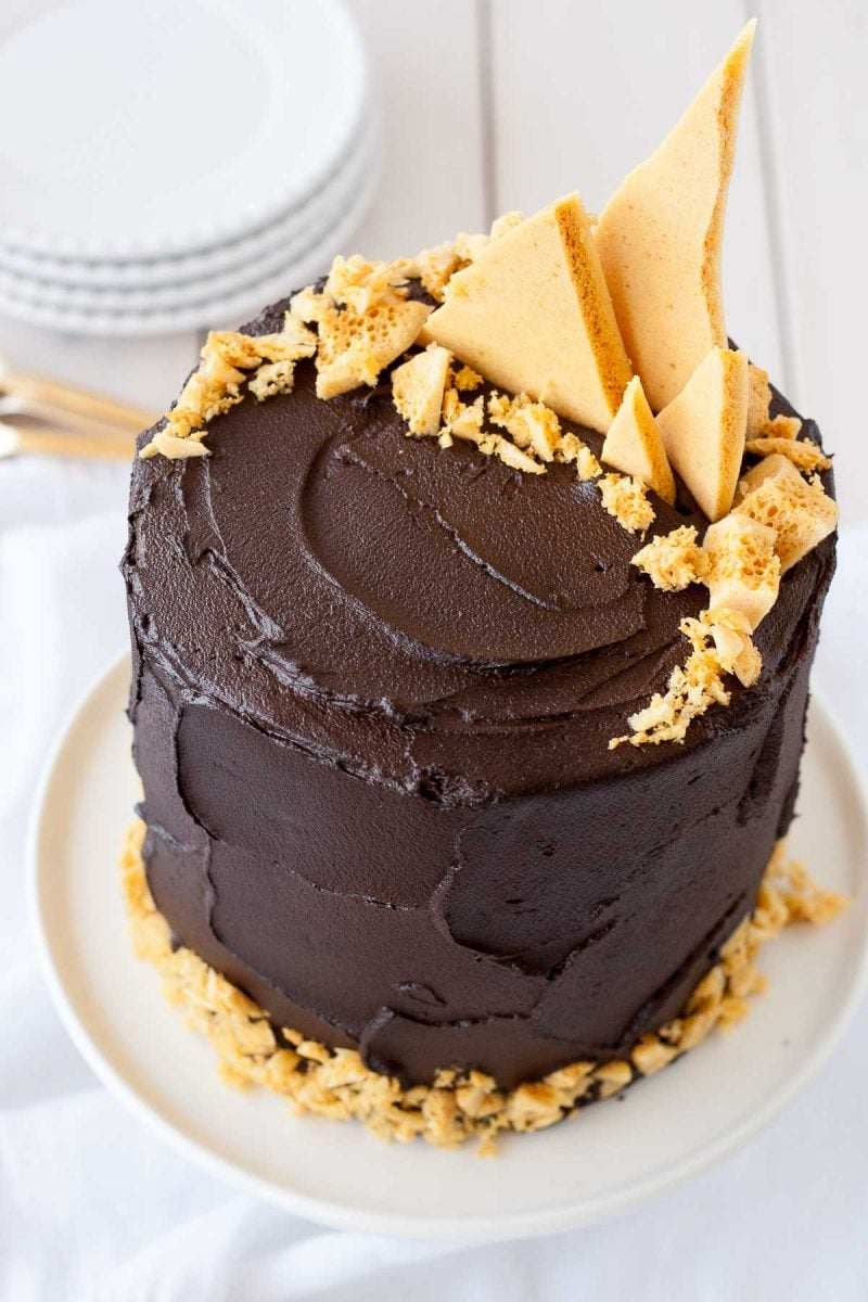 Dark Chocolate Honeycomb Cake