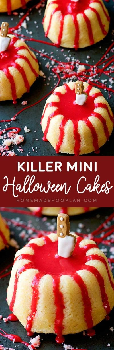 Killer Mini Halloween Cakes! These creepy (and easy!) Halloween cakes are perfect for any party! Spongy mini buttermilk bundts are drenched with red glaze and speared with candy knives. | HomemadeHooplah.com