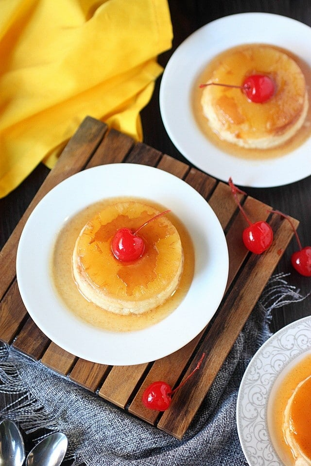 Pineapple Coconut Upside-down Cheesecake Flan