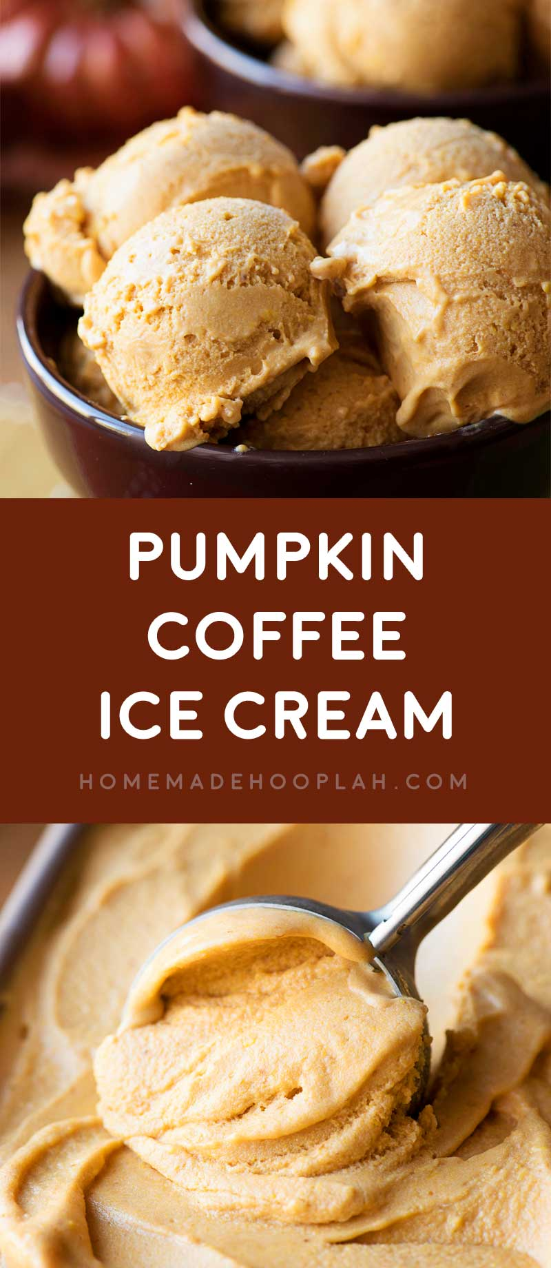 Pumpkin Coffee Ice Cream! Creamy and decadent pumpkin pie spice ice cream with a splash of pumpkin coffee. It's the perfect