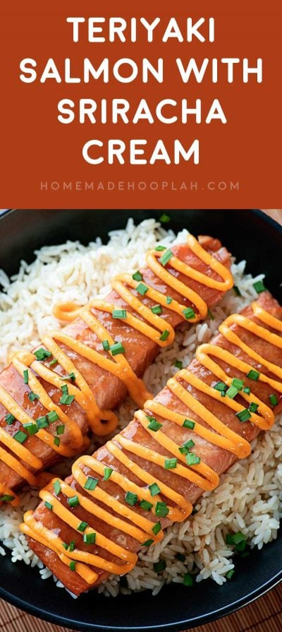 Teriyaki Salmon with Sriracha Cream Sauce! Fresh salmon marinated and baked in a homemade teriyaki sauce and topped with a sriracha cream sauce that can be made spicy or sweet. | HomemadeHooplah.com