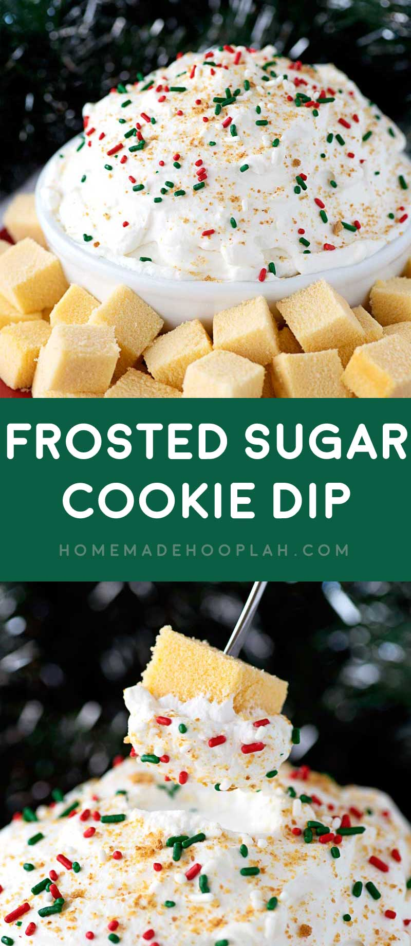 Frosted Sugar Cookie Dip! A fluffy dip made with International Delight Frosted Sugar Cookie Creamer and served fondue style with cubes of spongy pound cake. #ad #HolidayDelight #IDelight   HomemadeHooplah.com