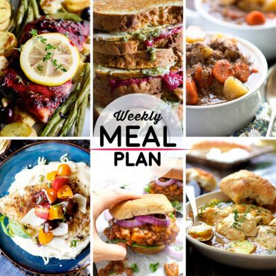 Weekly Meal Plan #39! A meal plan to help you keep things tasty each week, including blueberry balsamic glazed salmon, turkey cranberry pesto panini, slow cooker beef stew, and more! | HomemadeHooplah.com