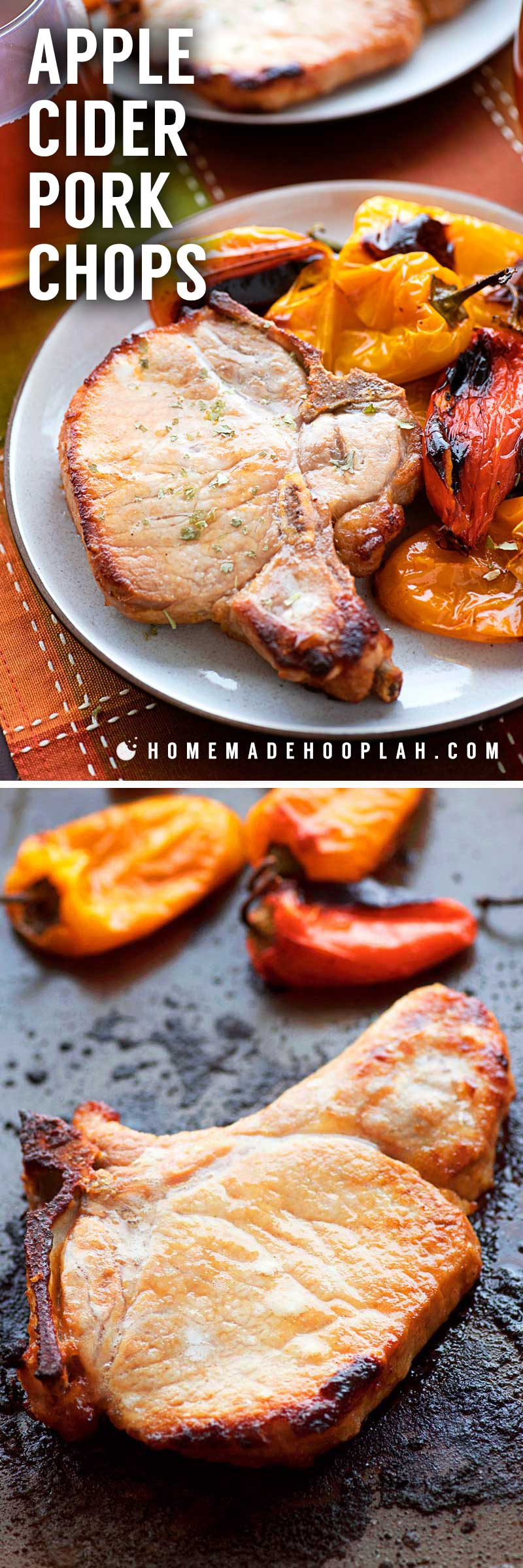 Apple Cider Pork Chops! These tender bone-in thick cut pork chops are soaked in an apple cider brine and then baked to tender perfection with miniature sweet peppers. #ad | HomemadeHooplah.com