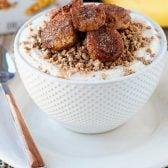 Fried Cinnamon Banana Breakfast Bowls! Creamy greek yogurt topped with Grape-Nuts®cereal and pan fried bananas with a sweet cinnamon coating. An easy and delicious breakfast! #ad #Postfortheholidays #SINGMovieSweeps #PostSave$4   HomemadeHooplah.com