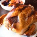 New England Baked Turkey and Chutney! A fool-proof baked turkey that's treated in a maple brine and served with a cherry and peach chutney. Perfect for both experienced and first-time cooks!   HomemadeHooplah.com