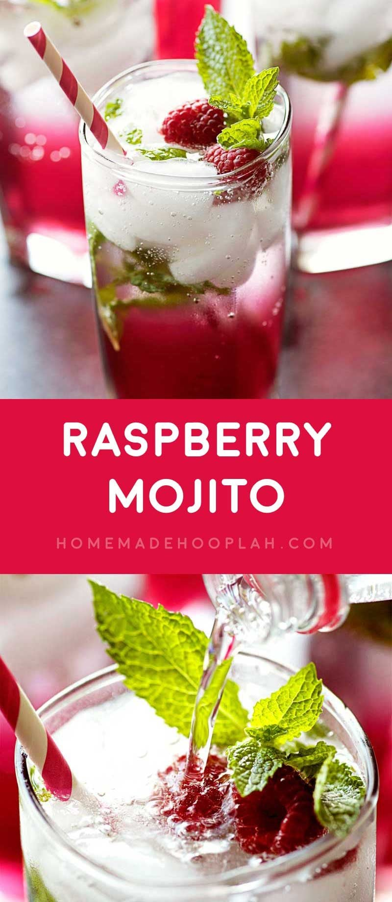 Raspberry Mojito! Minty and refreshing mojitos with a touch of raspberry flavor make for the perfect all-weather drink for holidays, parties, or a chill Friday night. | HomemadeHooplah.com