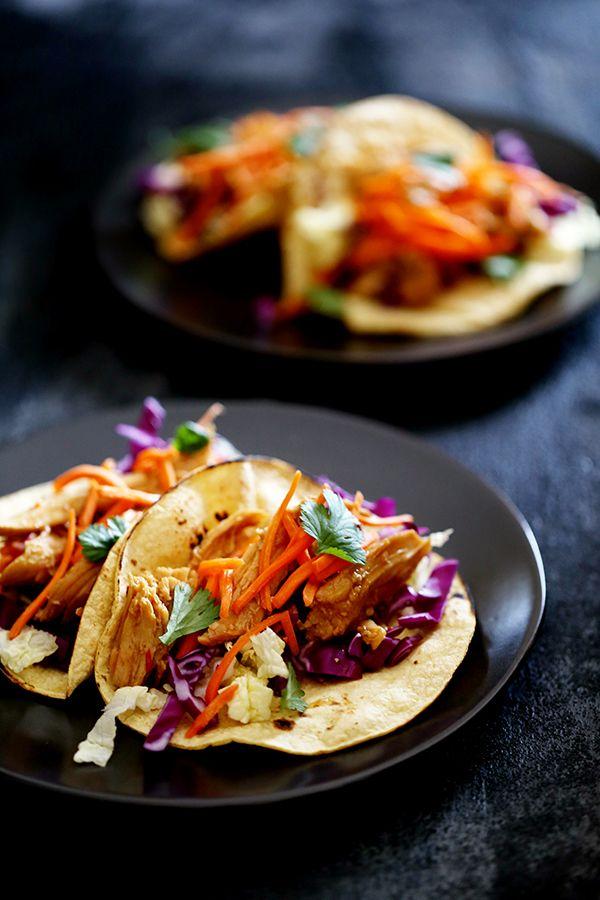 Slow Cooker Hoisin Chili Chicken Tacos