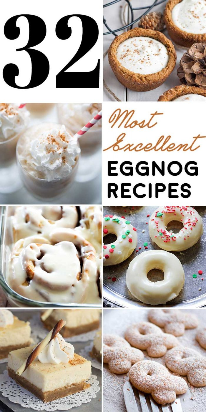 32 Excellent Eggnog Recipes! This list of 32 eggnog treats and drinks will be perfect to have on hand whether you're gift wrapping, decorating, or watching your favorite holiday movies! | HomemadeHooplah.com