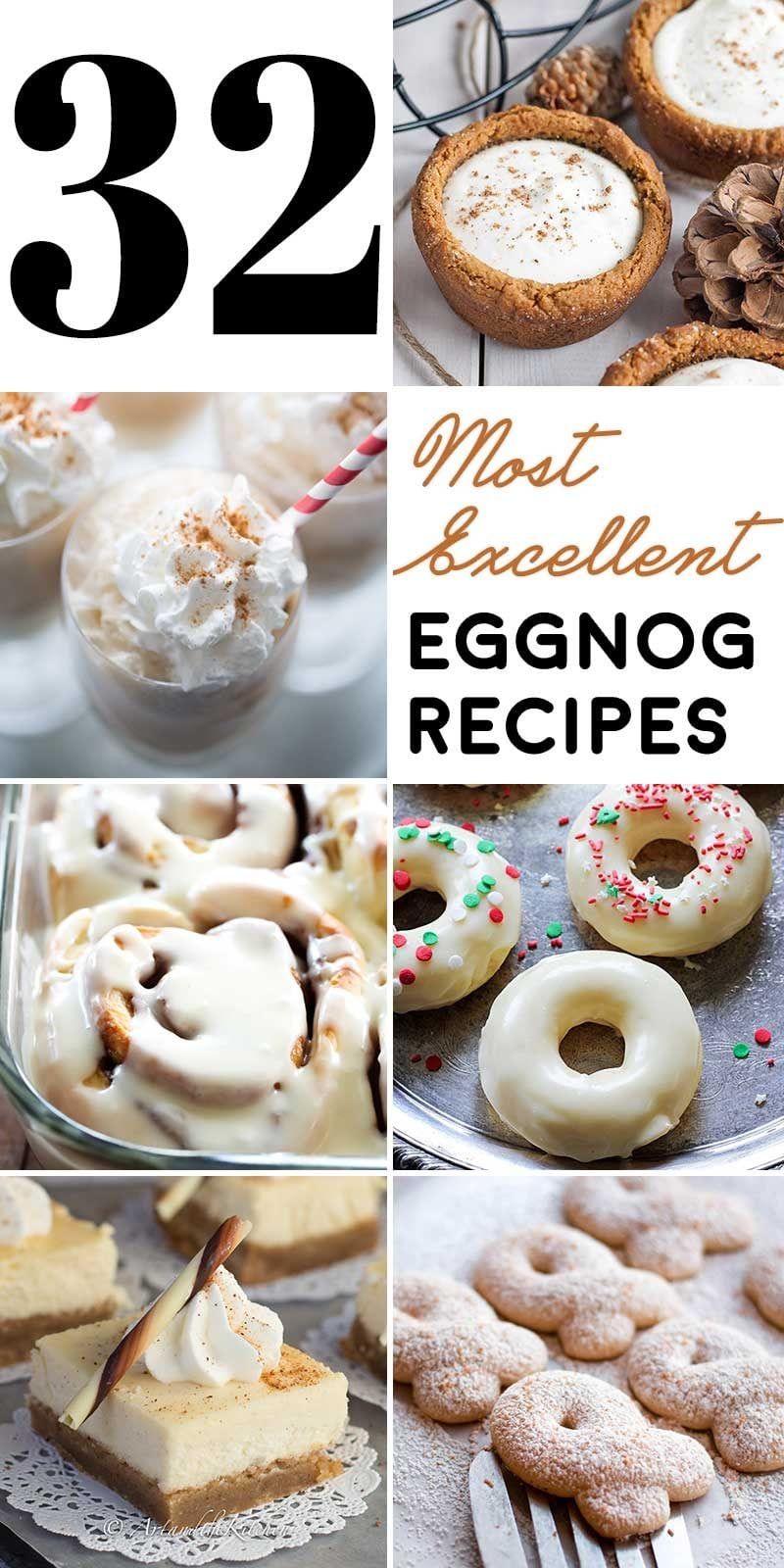 This list of 32 eggnog treats and drinks will be perfect to have on hand whether you're gift wrapping, decorating, or watching your favorite holiday movies! | HomemadeHooplah.com