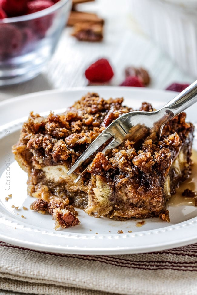 Overnight Cinnamon Eggnog French Toast Casserole