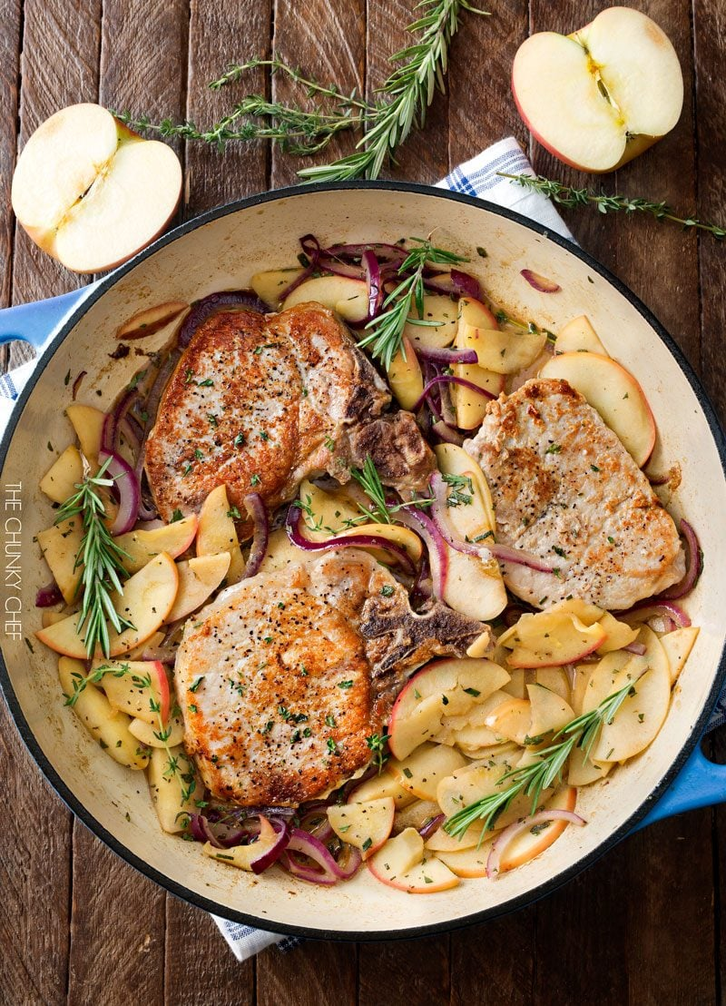 One Pan Pork Chops with Apples and Onions