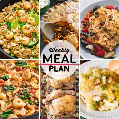 Weekly Meal Plan #42! A meal plan to help you keep things tasty each week, including shrimp pad thai, taco pot pie, mediterranean chicken, and more! | HomemadeHooplah.com