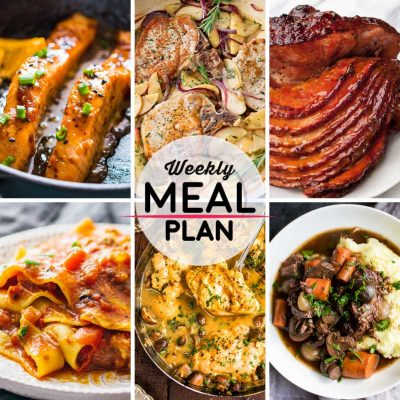 Weekly Meal Plan #43! A meal plan to help you keep things tasty each week, including orange mustard salmon, pork chops with apples and onions, skillet lasagna, and more! | HomemadeHooplah.com
