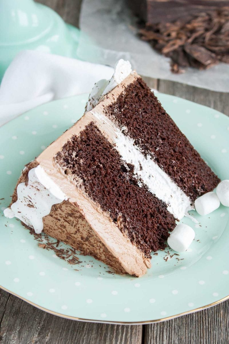 Hot Chocolate Cake with Marshmallow Filling
