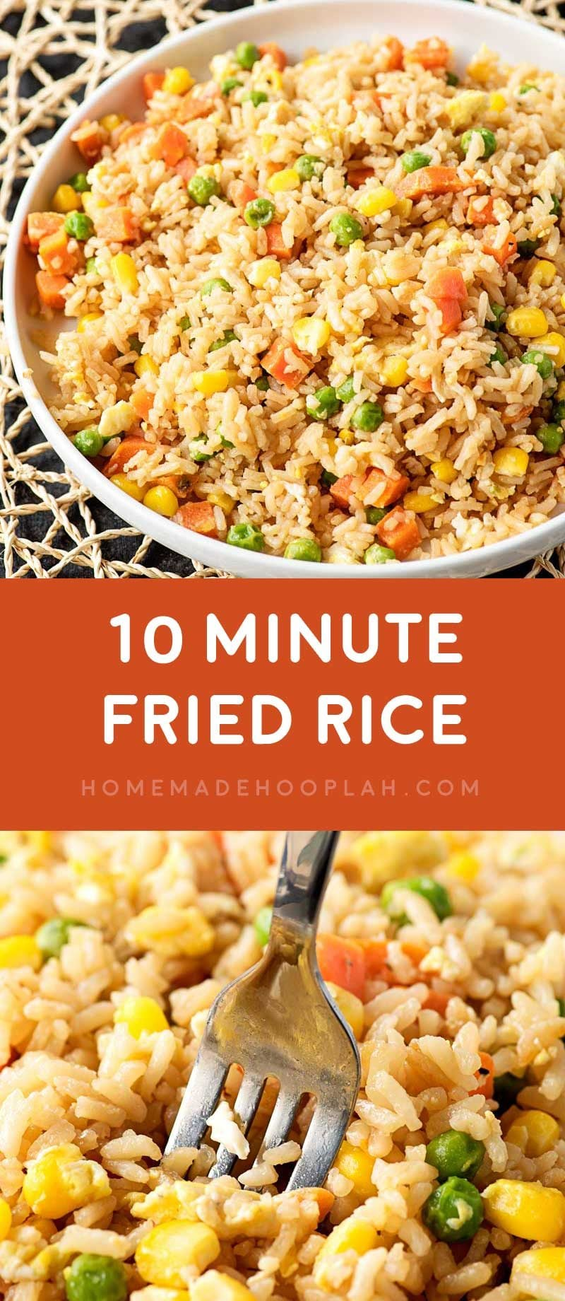 10 Minute Fried Rice! Need a new go-to side dish for busy weeknights? Fried rice is always a great staple, and this easy recipe makes it easy to whip up in just 10 minutes! | HomemadeHooplah.com