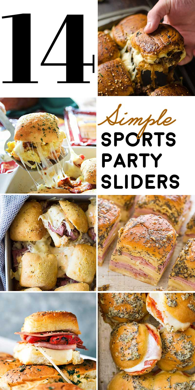 14 Simple Sports Party Sliders! If you're looking for a one-pan way to please the crowd at your next sports party, this list of simple slider recipes is a total win!   HomemadeHooplah.com