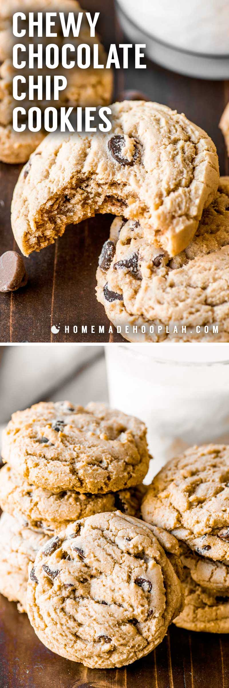 Chewy Chocolate Chip Cookies! Take the classic chocolate chip cookie and add a special ingredient to make them ultra soft and decadently chewy. It's impossible to eat just one! | HomemadeHooplah.com