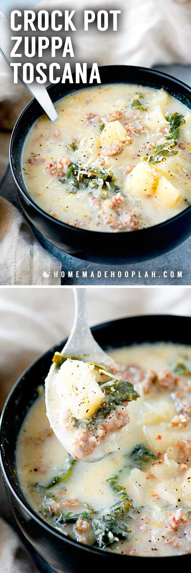 Crock Pot Zuppa Toscana! This crock pot zuppa toscana soup is an Olive Garden copycat recipe that makes it easy to bring the taste of Italy home. A simple dinner for busy weekdays! | HomemadeHooplah.com