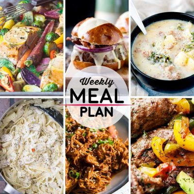 Weekly Meal Plan #44! A meal plan to help you keep things tasty each week, including sheet pan salmon, peppered pork sliders, crock pot zuppa toscana, and more! | HomemadeHooplah.com