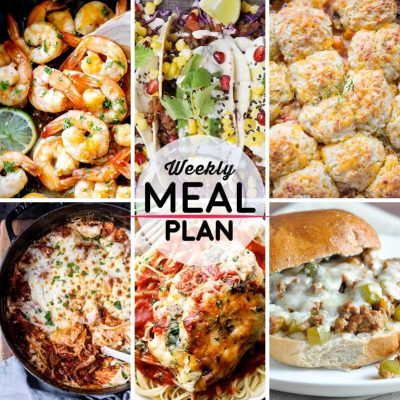 Weekly Meal Plan #45! A meal plan to help you keep things tasty each week, including sweet chili shrimp, adobo lentil tacos, winter vegetable cobbler, and more! | HomemadeHooplah.com