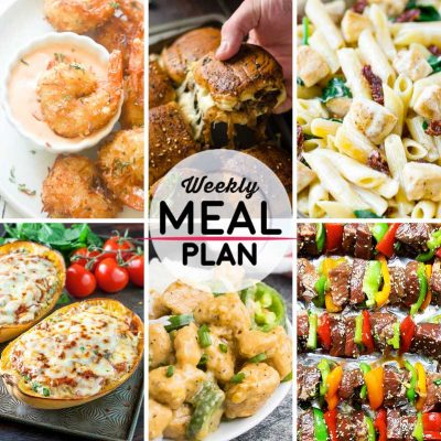 Weekly Meal Plan #46! A meal plan to help you keep things tasty each week, including coconut shrimp, french onion beef sliders, sun dried tomato pasta, and more! | HomemadeHooplah.com
