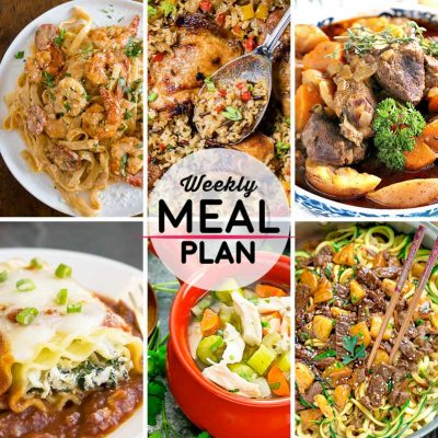 Weekly Meal Plan #47! A meal plan to help you keep things tasty each week, including canjun shrimp fettuccine alfredo, chinese chicken and rice, beef stew, and more! | HomemadeHooplah.com