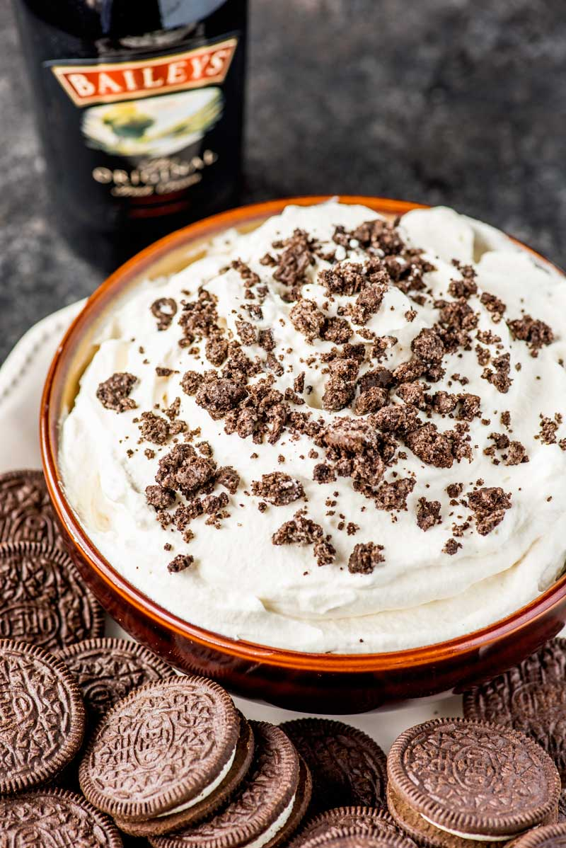 Baileys Cookies and Cream Dip! Do you love Baileys? How about Oreos? Because if so, this cookies and cream dessert will be perfect for all your parties, events, or a sweet snack craving! | HomemadeHooplah.com