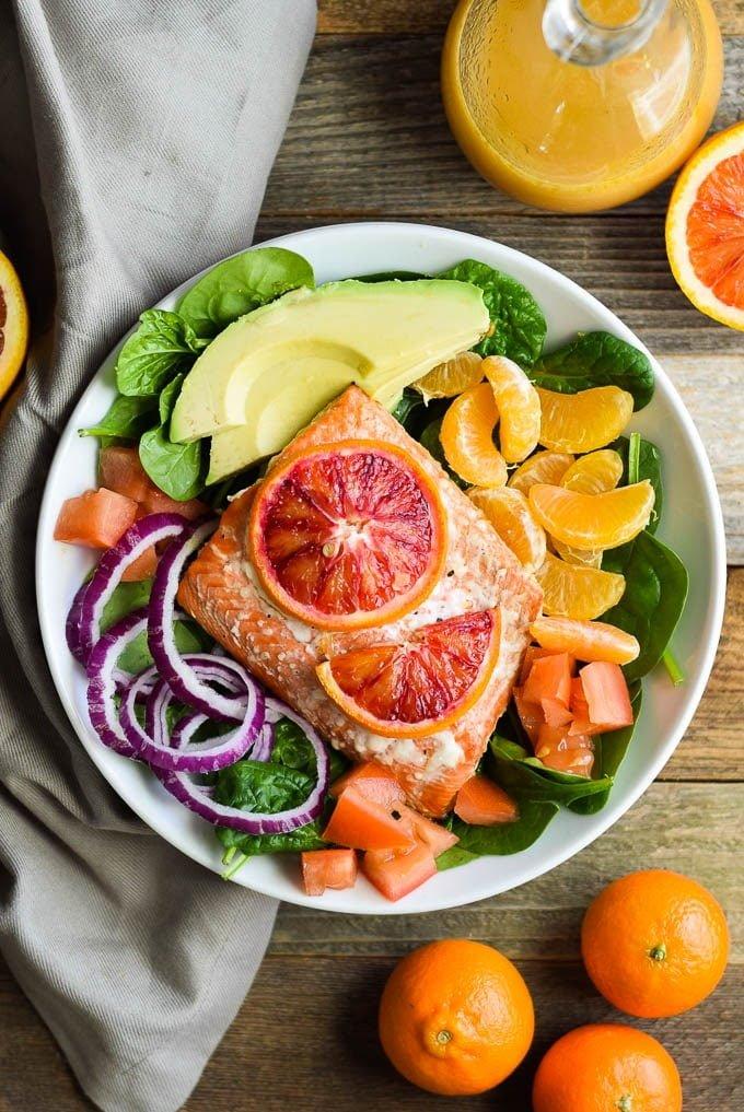 Honey Orange Salmon and Citrus Salad