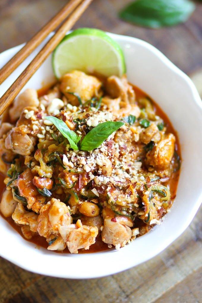 Creamy Peanut Chicken Zucchini Pasta