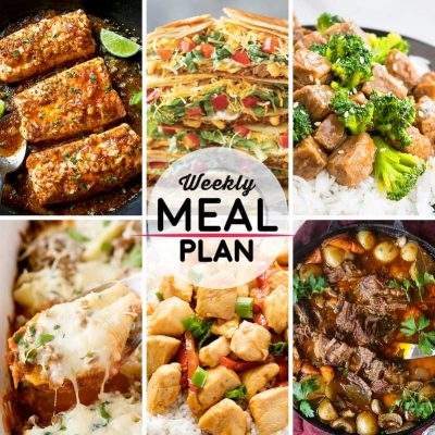 Weekly Meal Plan #49! A meal plan to help you keep things tasty each week, including spicy honey garlic salmon, crunch wraps, beef and broccoli, and more! | HomemadeHooplah.com