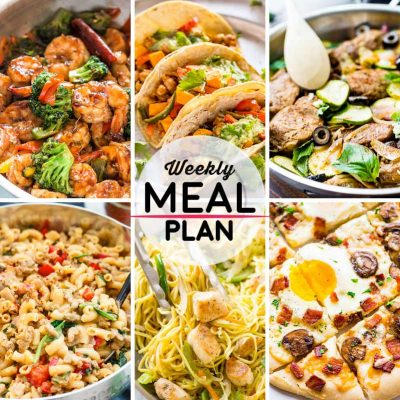 Weekly Meal Plan #50! A meal plan to help you keep things tasty each week, including teriyaki shrimp broccoli, chipotle tacos, balsamic pork loin, and more! | HomemadeHooplah.com