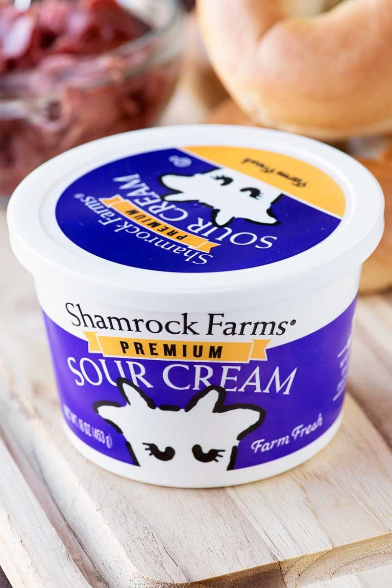 Bagel Dip! This Yooper recipe classic comes to life with Shamrock Farm's Premium Sour Cream to be the perfect savory dip for any party or event! #ad | HomemadeHooplah.com
