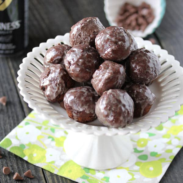 Guinness Chocolate Glazed Donut Holes