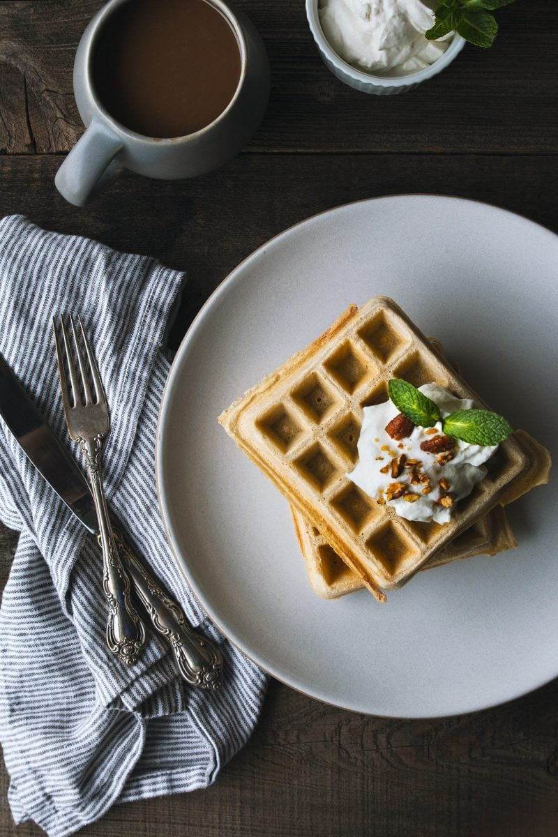 Guinness Waffles with Irish Whisky Cream