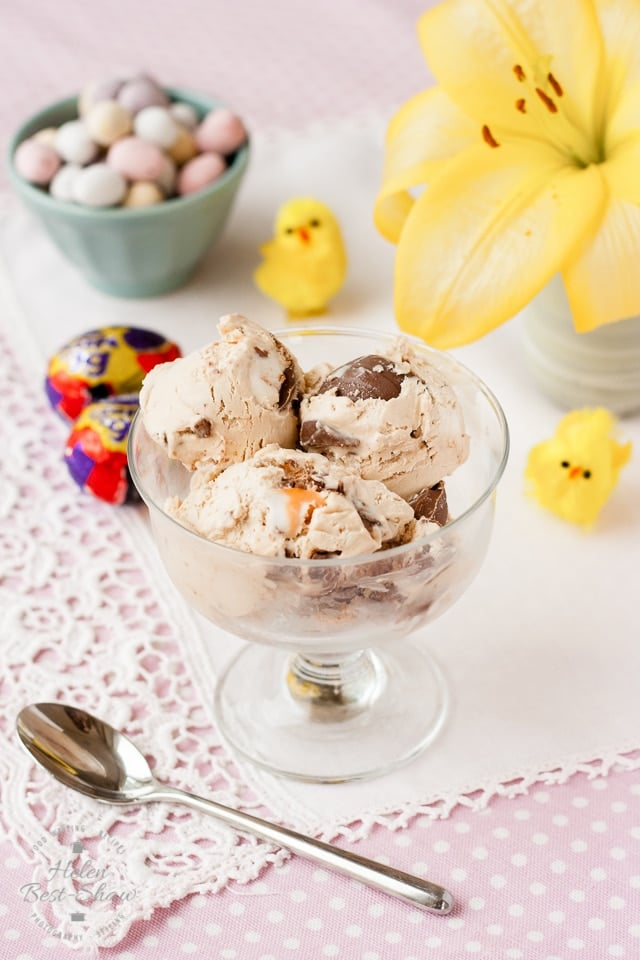 No Churn Cadbury Creme Egg Ice Cream