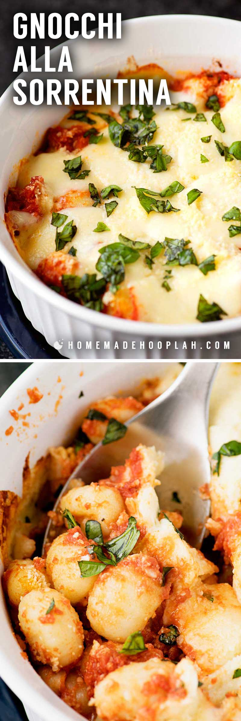 Gnocchi alla Sorrentina! Delicious and tender gnocchi served sorrentina style: baked in a deep dish with homemade tomato sauce and flavored with lots of mozzarella and basil. | HomemadeHooplah.com