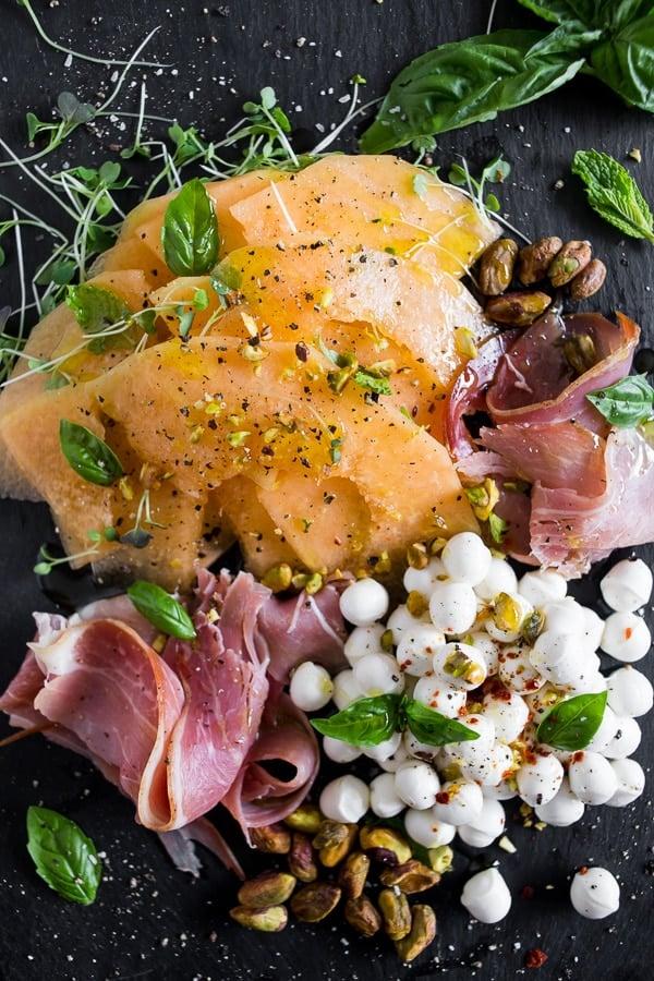 Cantaloupe Prosciutto Caprese Salad