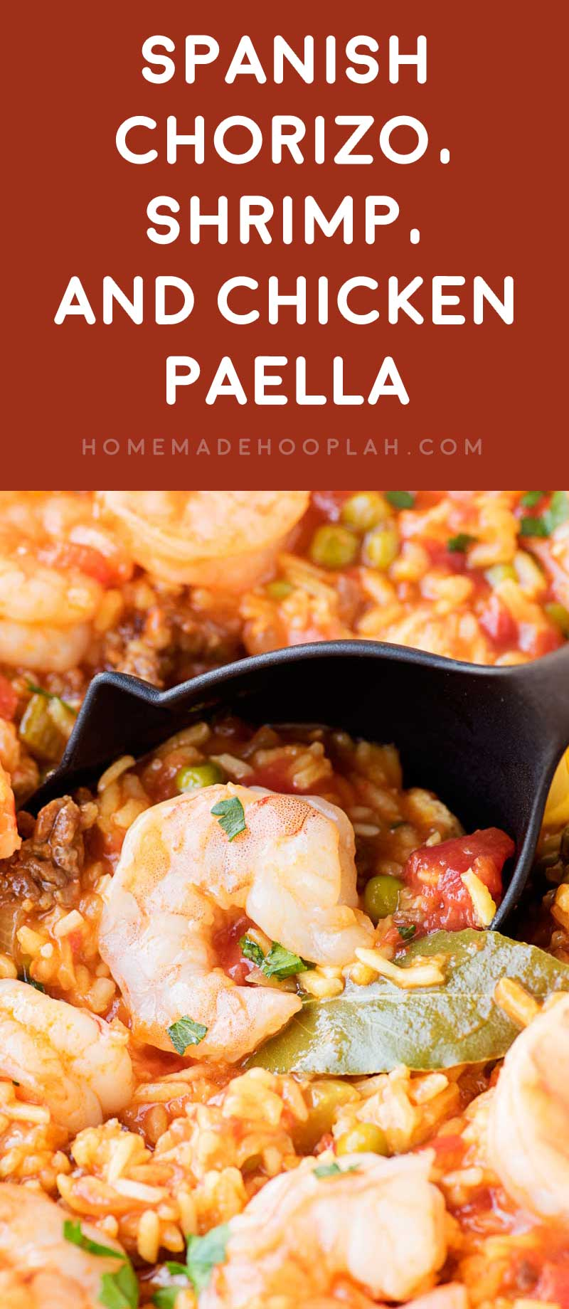 Spanish Chorizo, Shrimp, and Chicken Paella! A simple paella recipe made with chorizo, shrimp, and chicken and cooked with tomatoes, veggies, and yellow rice. It's a great one-pot meal for weeknights! #ad #vigotakesyouhome | HomemadeHooplah.com