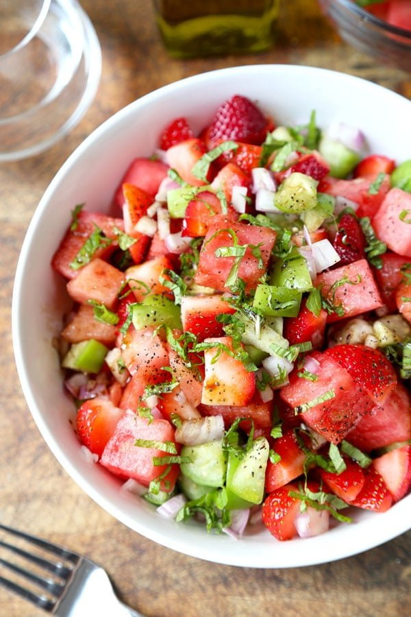 Watermelon, Strawberry, and Tomatillo Salad