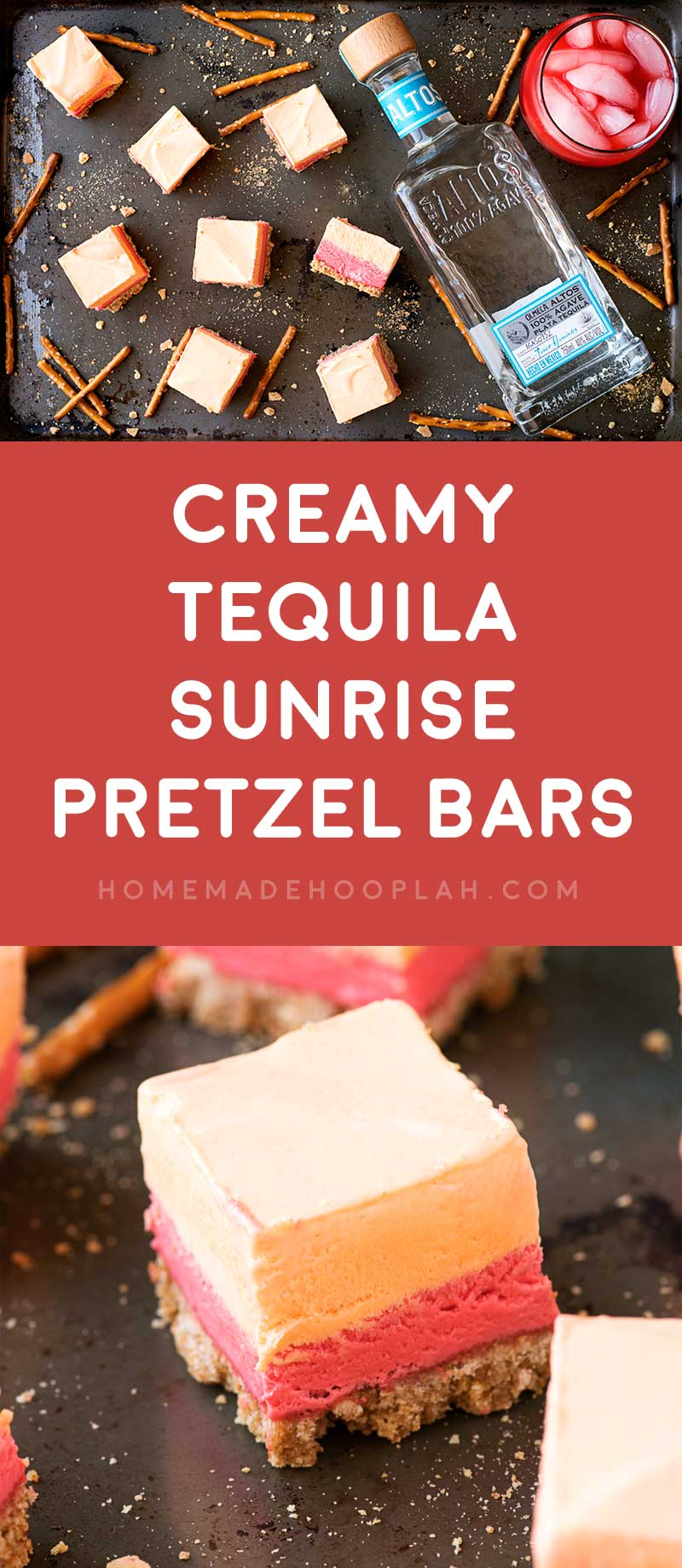 Creamy Tequila Sunrise Pretzel Bars! An edible version of the famous cocktail, these pretzel bars combine orange and grenadine tequila spiked cream with a crunchy sweet pretzel crust. #ad #AltosTequila #ThisIsOurTequila #FieldNotes @AltosTequila | HomemadeHooplah.com
