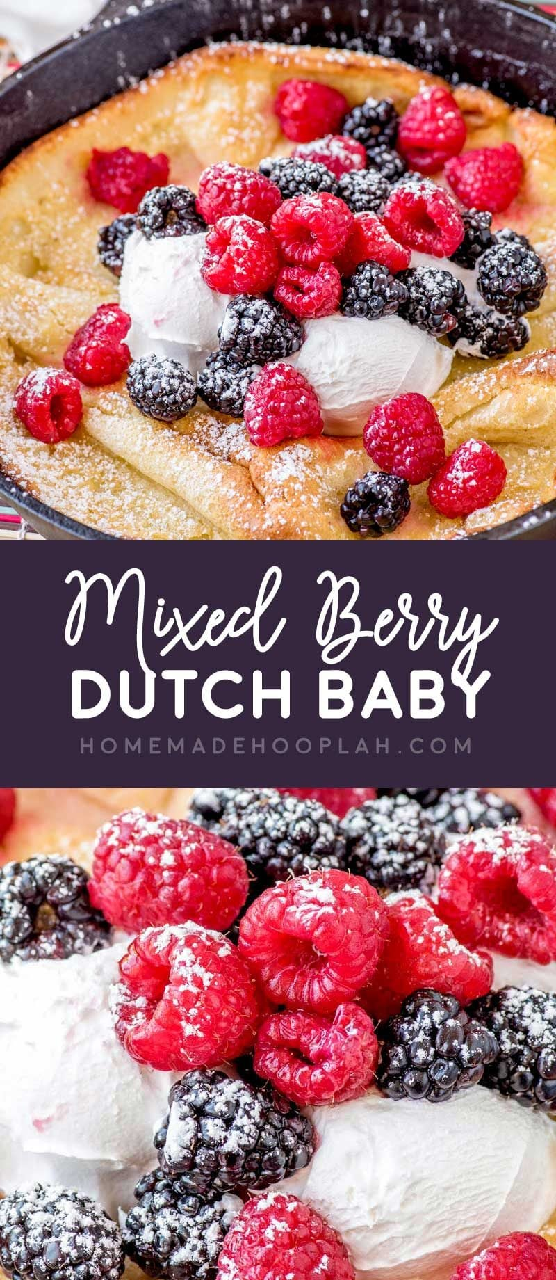 Mixed Berry Dutch Baby! Whether you call it a German pancake or a Dutch baby, this puffy oven pancake is an easy crowd-pleasing breakfast with a light flavor. A snap to customize! | HomemadeHooplah.com