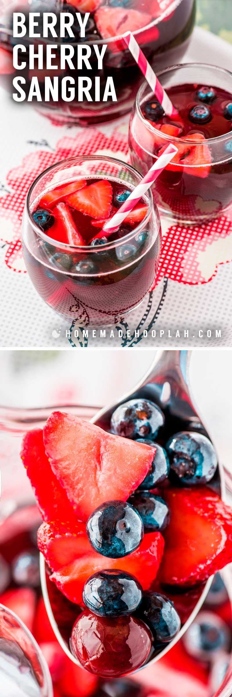 Berry Cherry Sangria! Fresh cherries, strawberries, and blueberries are soaked in brandy, cherry-pomegranate juice, and classic red wine to make this sangria with cherries! | HomemadeHooplah.com