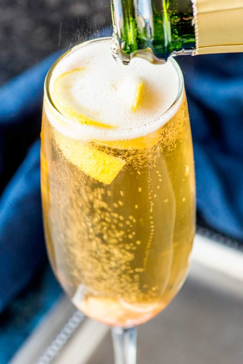Easy champagne cocktail recipe.