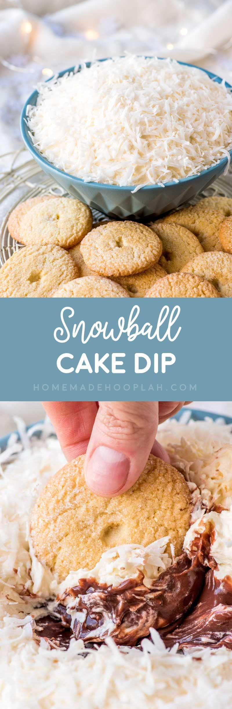 Snowball Cake Dip! Whether you love classic snowball cake or the Sno Ball treats from Hostess, this unique cake dip will be perfect for any cake, chocolate, and coconut lover!   HomemadeHooplah.com