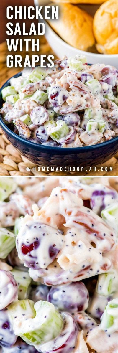 Chicken Salad with Grapes! This sweeter twist on chicken salad with grapes, pecans, celery, poppy seeds, and hints of lemon and honey is perfect as a side dish or on a sandwich! | HomemadeHooplah.com