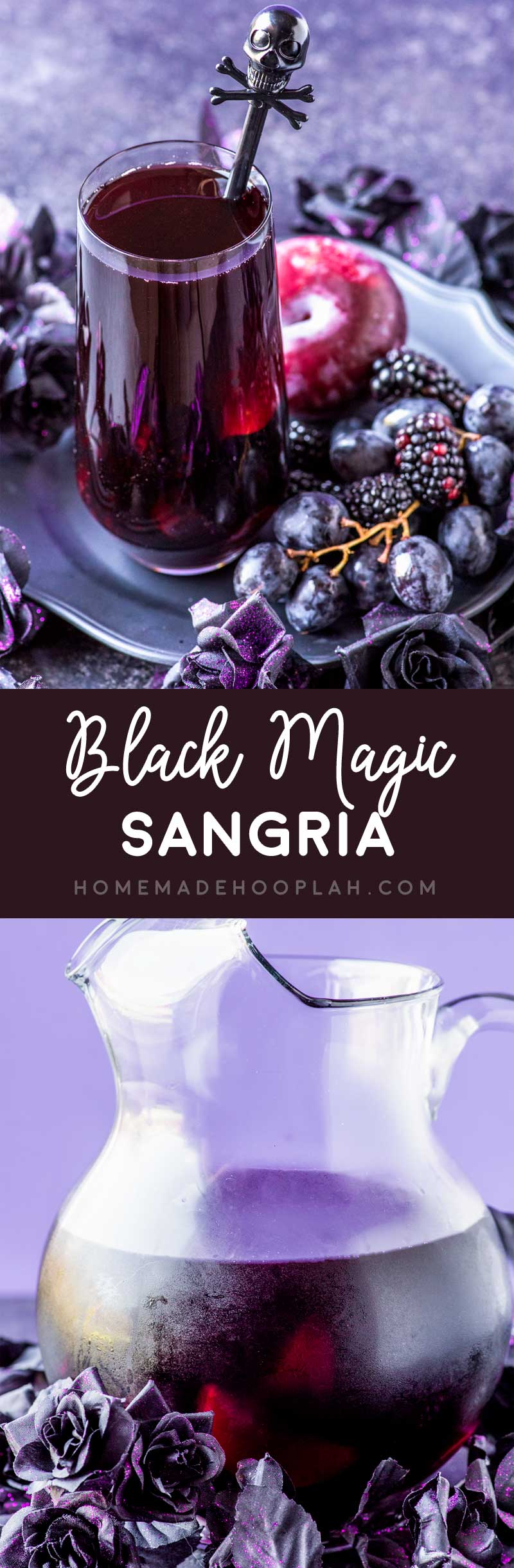 Black Magic Sangria! This black magic drink is a purple punch mixed with blackberries, black grapes, and black peaches. Can be made tart (like a witch!) or spellbindingly sweet. | HomemadeHooplah.com